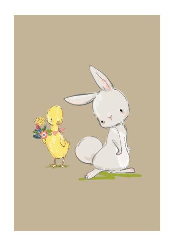 Poster Hase, Küken und Blumen Poster 1