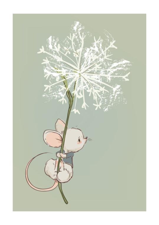 Poster Maus mit Pusteblume Poster 1