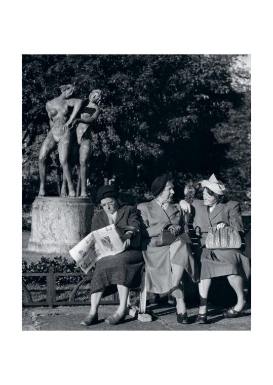 Poster Damen auf Parkbänken Poster 1
