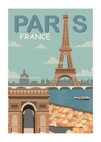 Poster Paris Blau Vintage Poster 1